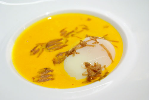 Pumpkin Soup, Poached Egg and Alba White Truffles