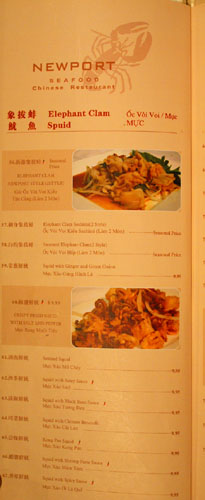 Newport Seafood Menu: Elephant Clam, Squid