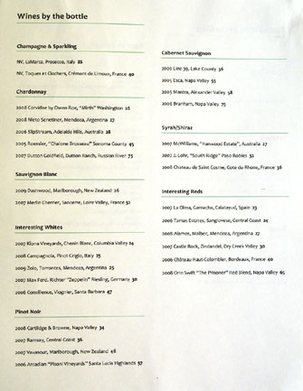Bashan Wine List