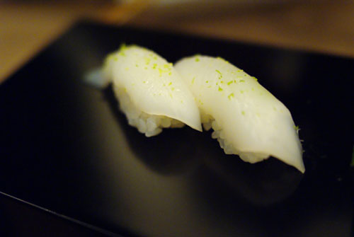 Yari Ika with Salt and Yuzu Zest