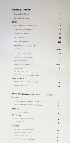 Bar Masa Menu