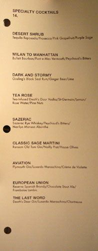 Sage Specialty Cocktails