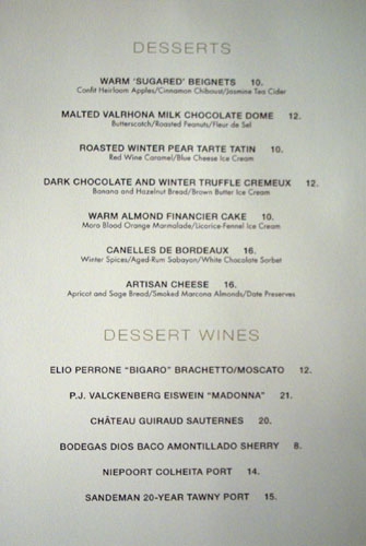 Sage Dessert Menu