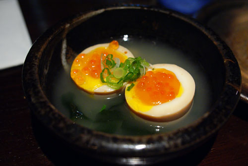 Half Raw Egg with Salmon Roe