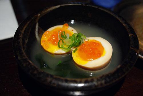 Half Raw Egg with Salmon Roe