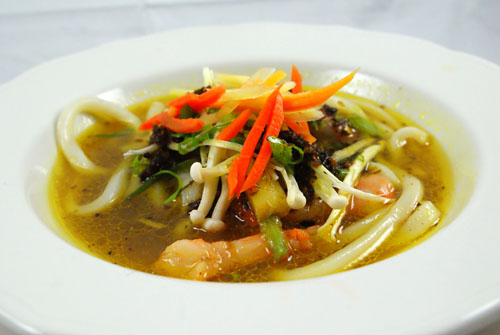 Shrimp, Udon, Kombu-Ginger Dashi, Baby Carrots, Vadouvan Butter