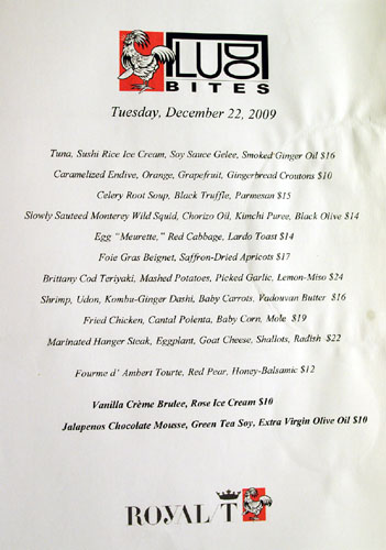 LudoBites at Royal/T Menu