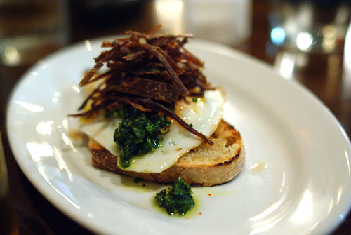 Khlii (Moroccan-Style Beef Jerky) with Fried Egg & Salsa Verde