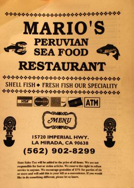 Mario's Peruvian Seafood Menu
