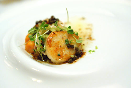 Maine Diver's Scallop Sautéed with Capers, Brown Butter and Lemon with Tiny Tomato Gnocchi