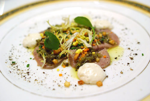 Chilled Petals of Veal Tongue Ravigote with Fresh Horseradish