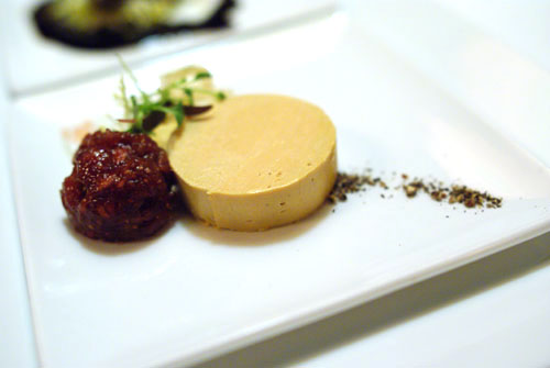 A Marriage of Hot and Cold Foie Gras with Sauternes Jelly and House Made Fig Marmalade