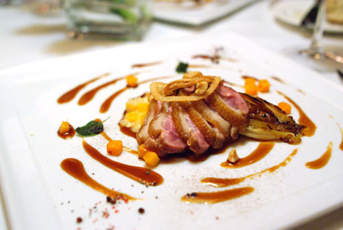 Pan Seared Four Story Hill Farm's Pekin Duck Breast on Butternut Squash Risotto with Caramelized Endive
