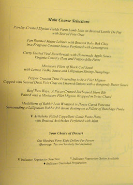 The Inn at Little Washington Menu