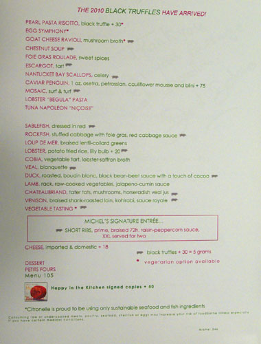 Citronelle Menu