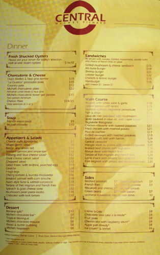 Central Michel Richard Menu