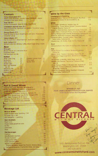Central Michel Richard Drink Menu
