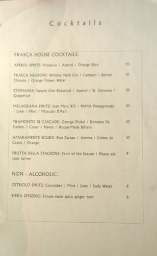 Frasca Cocktails
