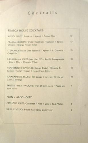 Frasca Cocktails
