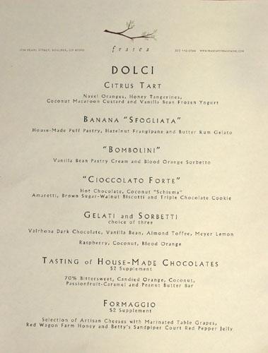 Frasca Dessert Menu
