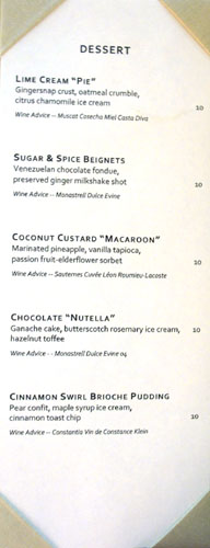 Hatfield's Dessert Menu