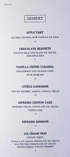 Bastide Dessert Menu