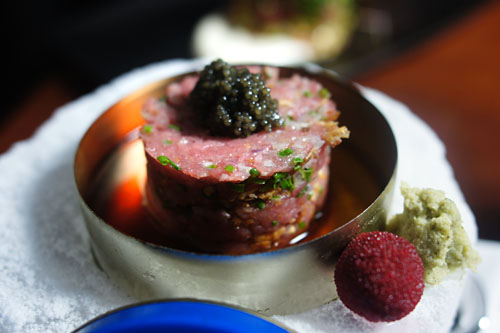 toro tartar with caviar