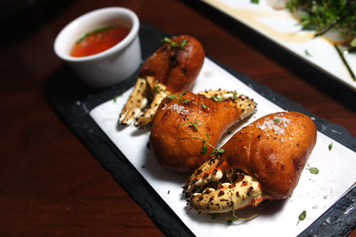 king crab claws 'corn dogs'