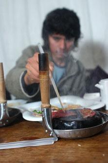 Javier searing beef
