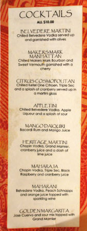 Heritage India Cocktail List