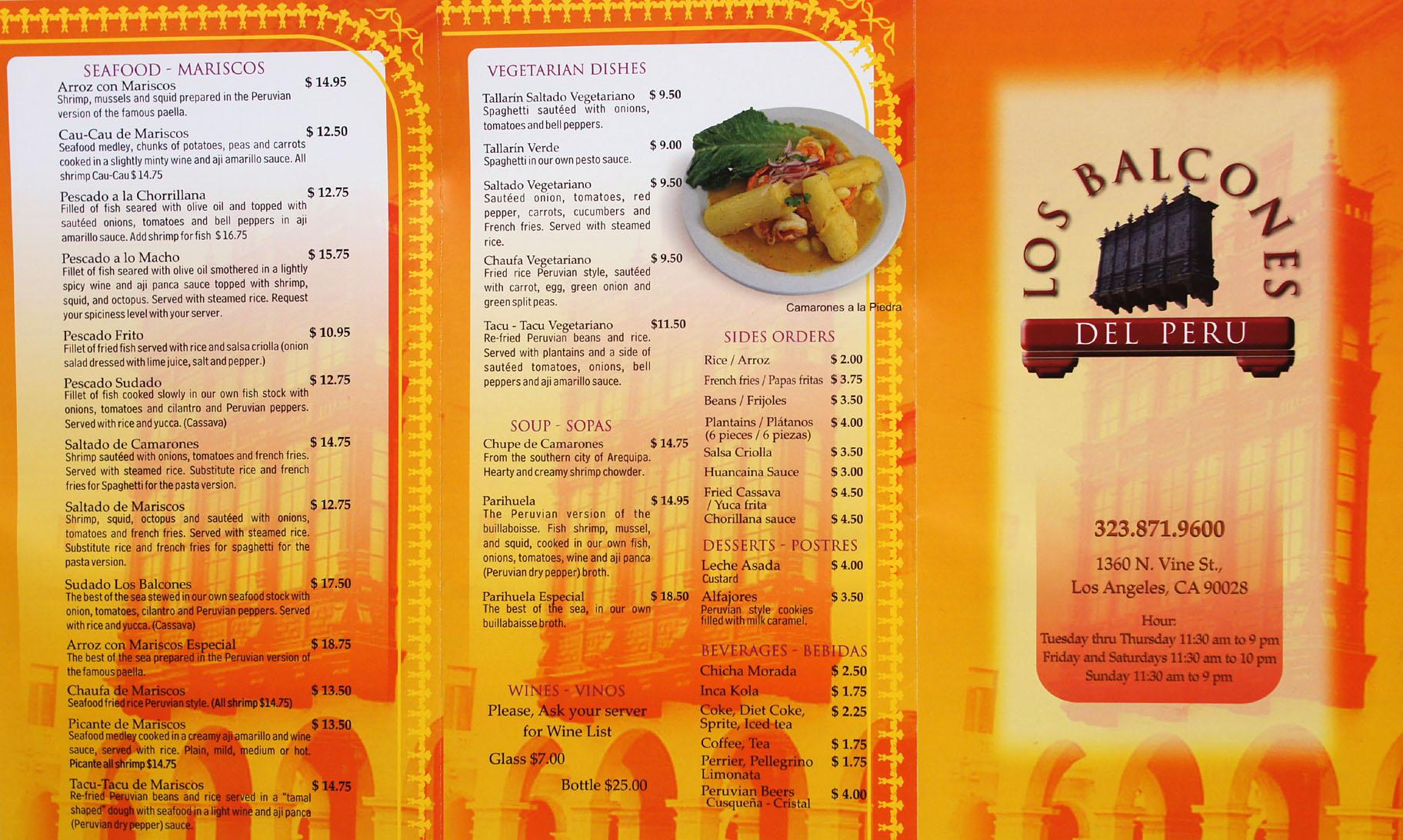 Kevineats los balcones del peru los angeles ca for Balcony restaurant menu