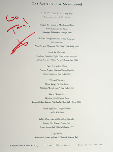 Meadowood Chef's Tasting Menu