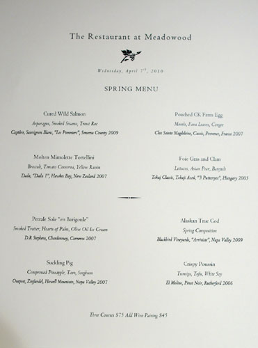 Meadowood Spring Menu
