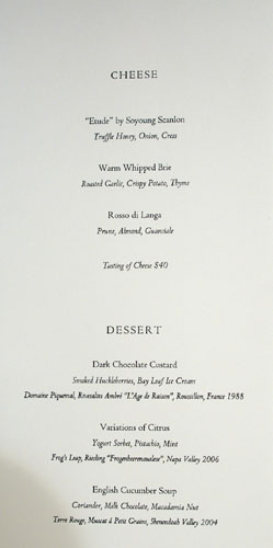 Meadowood Dessert and Cheese Menu