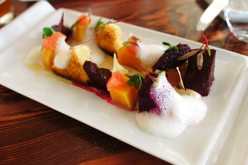 'ruby queen' BEETS and their micros with whipped goat's milk