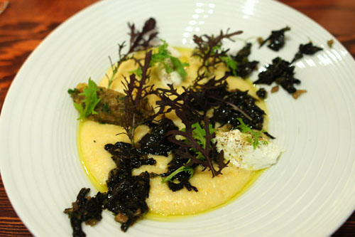 organic grits from arbuckle, goat's milk ricotta and its whey