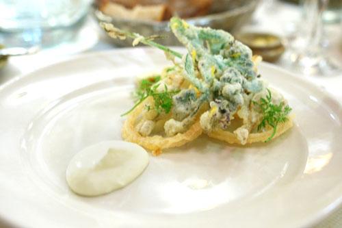 Artichoke and spring flower tempura