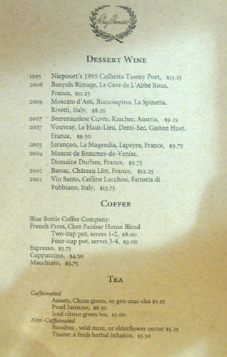 Chez Panisse After Dinner Drink Menu