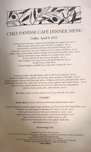 Chez Panisse Café Menu