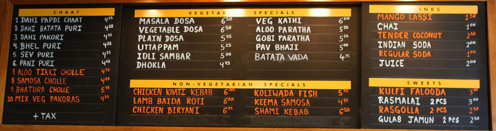 Vik's Chaat Corner Menu Board
