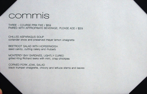 Commis Menu