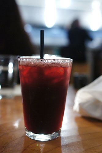 Rum, sweet zin, coca-cola, blackberries