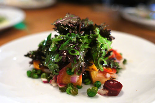 Temecula beet & carrot salad, fried peas