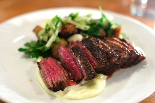 Highland steak, white beans, arugula