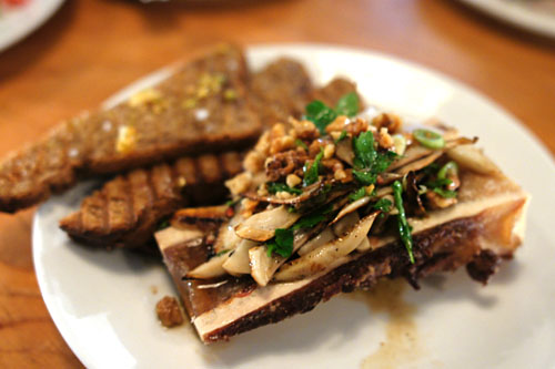 Beef marrow, king oyster mushrooms, walnuts