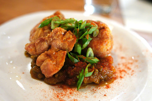 Sweetbreads, green bean chutney