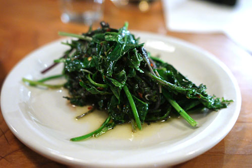 Sauted kale, broccoli leaf, garlic & chili