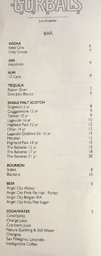 The Gorbals Drink List