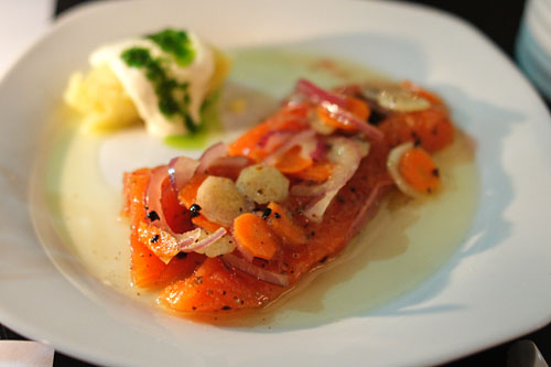 Marinated King Salmon, German ButterBall Potato, Red Wine Vinaigrette, Crème Fraiche