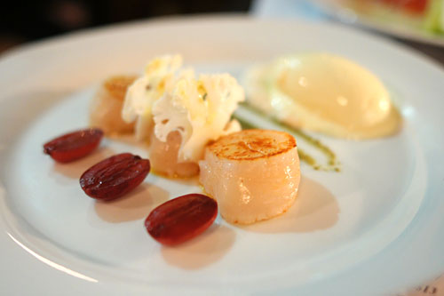 Scallop, Almond Puree, Pickled Grapes, Capers, Curry Oil & Cauliflower Ice Cream